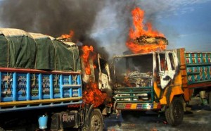 truck on fire on Dhaka-Ctg Haighway