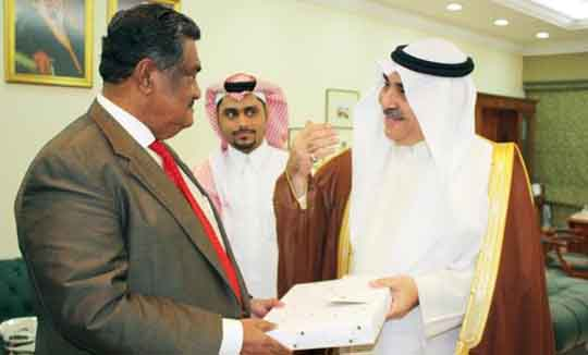 Arab News - In this January 2015 file photo, then acting Labor Minister Adel Fakeih, right, exchange mementos with Ba...             </div><!-- .entry-content -->  </article><!-- #post-## -->  <div class=